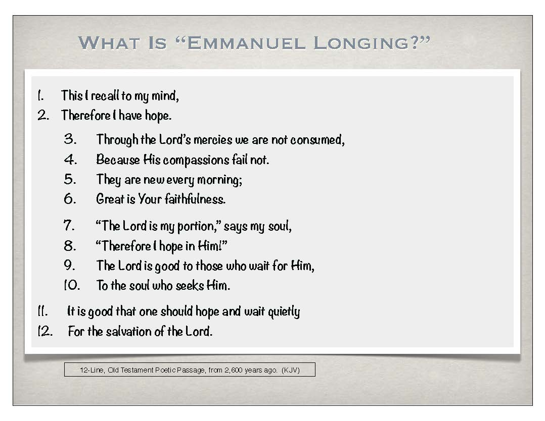 Emmanuel Longing (Summary Handouts) – Making Scriptural Connections